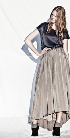 Look 13. Navy Blue Box T Top and Pale Brown Arva Skirt.