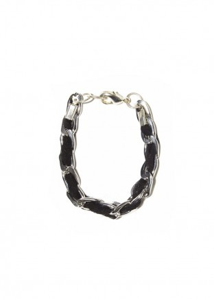 Silver  chain black silk chiffon