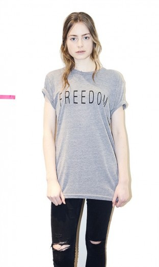 Unisex Light Grey Freedom T