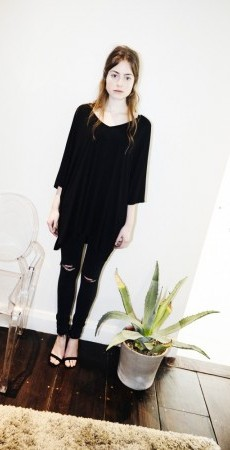 V-kaftan top black jersey