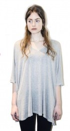 V-Katan Top in Light grey jersey